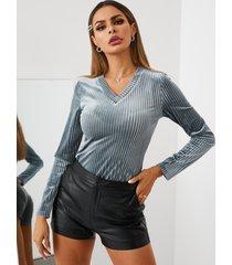 yoins blusa de manga larga con cuello en v de terciopelo azul