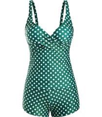 polka dot cross boyshorts plunging pocket tankini swimwear