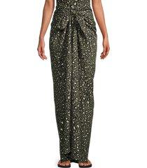 zadig & voltaire women's leopard print wedge sarong - khaki