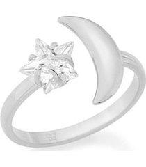 anel skinny ring ajustável lua com zircônia rommanel