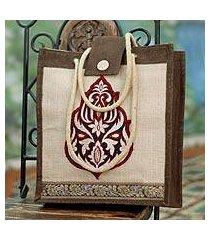 jute tote bag, 'fire blossom' (india)
