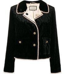gucci bead trim jacket - black