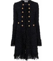 charlott long-line textured coat - black