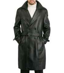 men leather coat winter long  leather coat genuine real leather trench coat-uk32