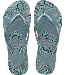 havaianas women's slim organic rubber thong sandals - black grey red - size 39/40 (9/10)