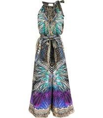 camilla animal army-print silk jumpsuit - blue