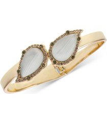 laundry by shelli segal gold-tone pave & stone bangle bracelet