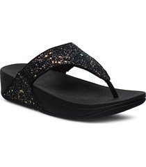 lulu tp glitter shoes summer shoes flat sandals svart fitflop
