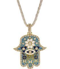 large sky blue enamel hamsa pendant