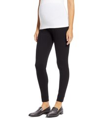 women's isabella oliver over the bump maternity ponte knit pants, size 3 - black