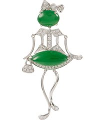 diamond jade 18k white gold pendant