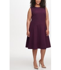 tommy hilfiger plus size seam-detail fit & flare dress