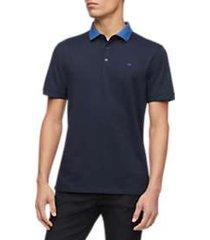 calvin klein men's liquid touch textured collar polo shirt
