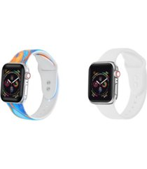 unisex orange tie dye and white 2-pack replacement band for apple watch, 42mm