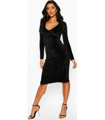 velvet ruched detail midi dress, black