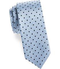 herringbone and dot silk tie