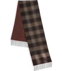 saks fifth avenue men's collection plaid wool & cashmere scarf - brown