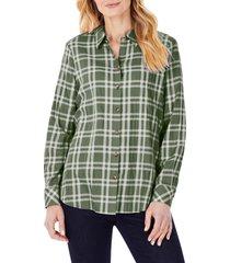 women's foxcroft rhea plaid button-up tunic shirt, size 18 - green
