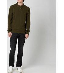 polo ralph lauren men's mesh knit long sleeve polo shirt - company olive - m