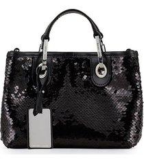 emporio armani black sequins handbag