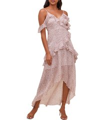 women's astr the label high/low tiered ruffle maxi dress, size medium - brown