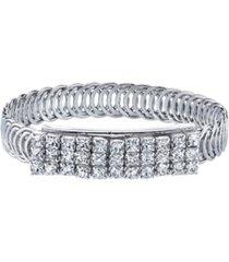 2028 silver-tone clear crystal rhinestone slim belt bracelet