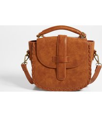 maurices womens cognac whipstitch crossbody bag brown