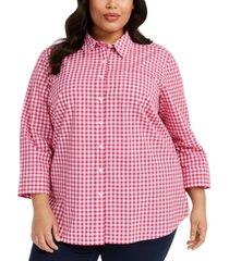 karen scott plus size cotton gingham shirt, created for macy's