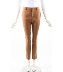 gucci brown wool stretch skinny pants brown sz: s