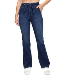 almost famous juniors' high rise tie-waist flare jeans