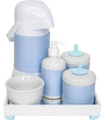 kit higiene espelho completo porcelanas, garrafa e capa provençal azul quarto bebê menino