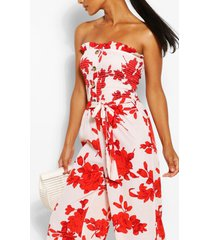 floral strapless shirred bodice jumpsuit