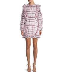 70/21 women's striped tie-dye ruffle blouson dress - size m
