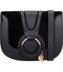 see by chloé hana shoulder bag in black suede and leather