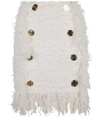 fringe trimmed button embellished skirt