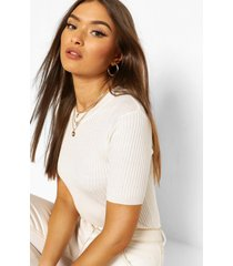 rib knit crew neck short sleeve knitted top, cream