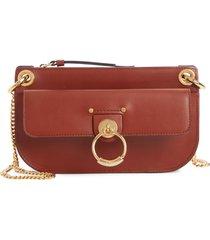 chloe mini tess leather crossbody bag - brown