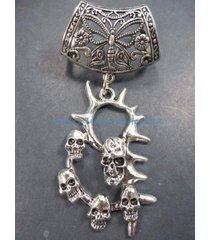 us seller-scarf necklaces death skulls slider pendant
