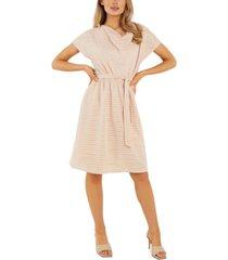 quiz burnout striped cowlneck dress