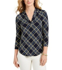 charter club petite plaid ruffled top, created for macy's