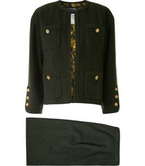 chanel pre-owned collarless skirt suit - green
