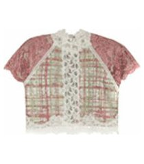 lethicia bronstein top cropped de renda - rosa