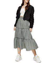 women's topshop gingham check tiered skirt
