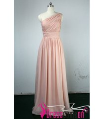 new blush one shoulder bridesmaid dress,pearl pink prom dress chiffon long bon12