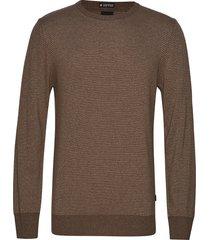 striped cashmere o-neck knit gebreide trui met ronde kraag bruin lindbergh