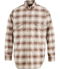 wolverine men's fr plaid long sleeve twill shirt khaki, size s
