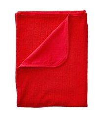 manta tricô e malha mami com forro vermelho