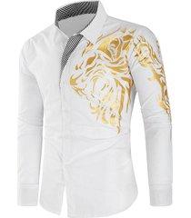 casual plaid patchwork dragon print shirt