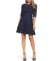 women's eliza j lace fit & flare cocktail dress, size 8 - blue