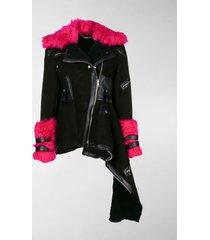alexander mcqueen shearling asymmetric biker jacket